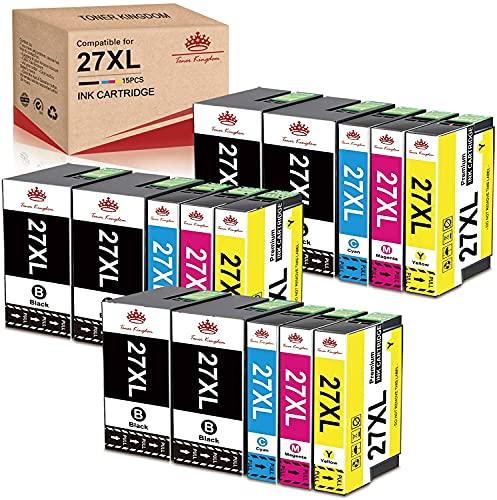 Toner Kingdom Compatible para Epson 27XL 27 Cartuchos de Tinta de Repuesto para Epson Workforce WF-7720 WF-7620 WF-7110 WF-3640 WF-7610 WF-7210 WF-7715 WF-7710 WF-3620(6Negro 3Cian 3Magenta 3Amarillo)