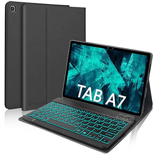 """DINGRICH Funda Teclado para Samsung Galaxy Tab A7 10.4"""" 2020, Español Ñ Teclado 7 Color Retroiluminación Bluetooth Inalámbrico Extraíble para Samsung Galaxy Tab A7 SM-T500/T505/T507 2020 Tablet Negro"""