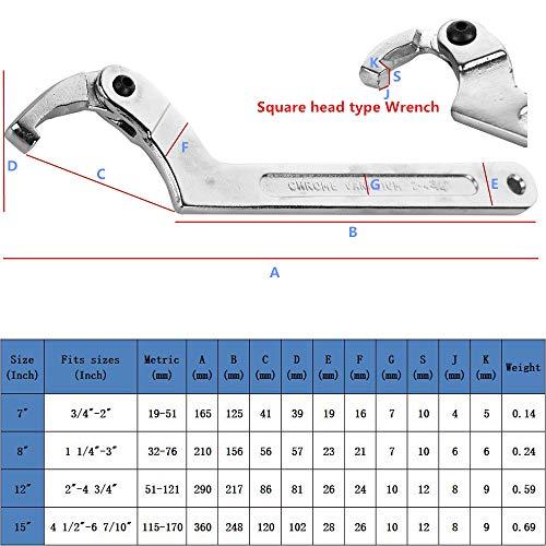 Eowpower Chrome Vanadium C Spanner Tool Adjustable Hook Wrench Square head - 3/4-2