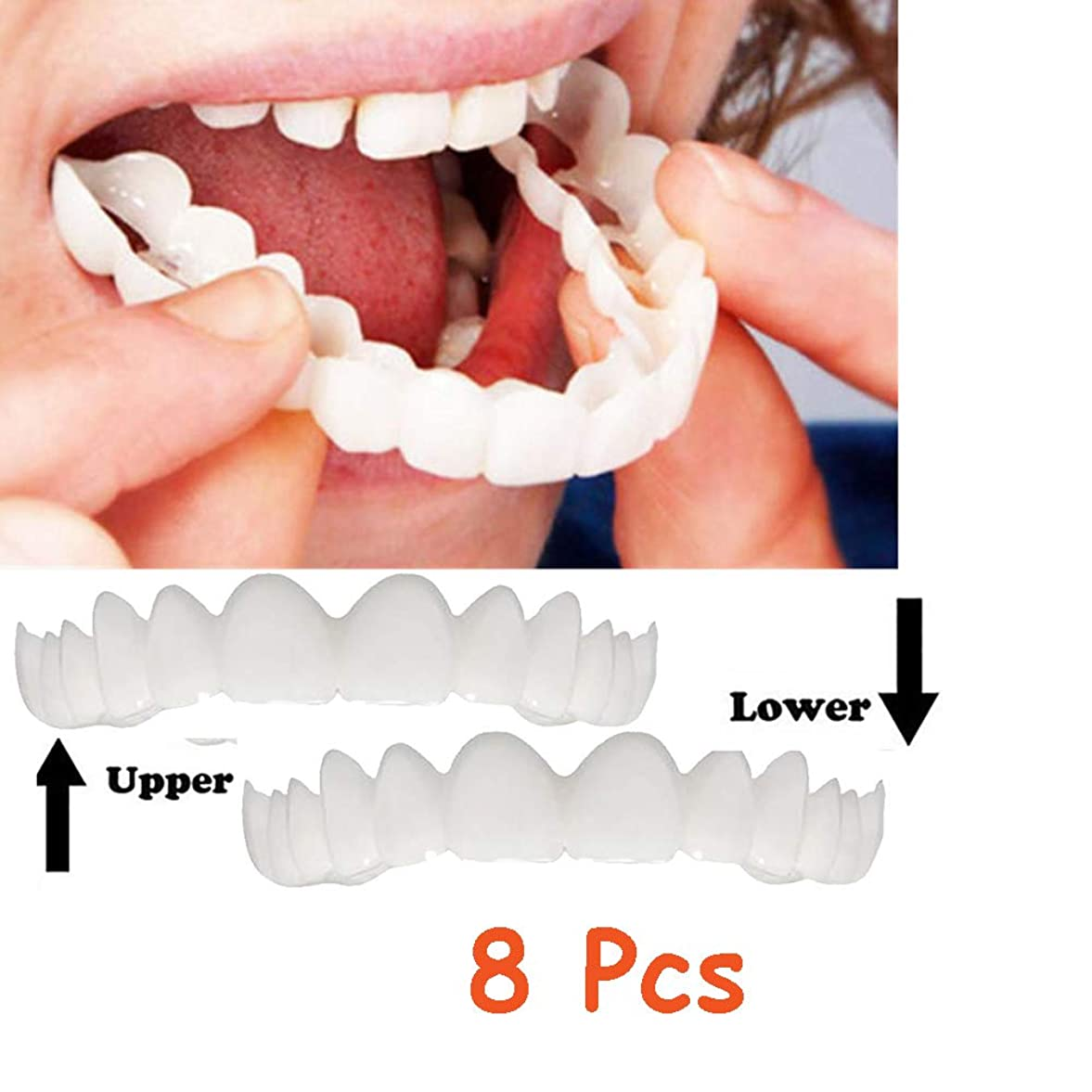 割り込み効能なめらか8個上下の義歯インスタントスマイルコンフォートフィットフレックスコスメティックスナップオンスマイルティースワンサイズフィット矯正(下+上)