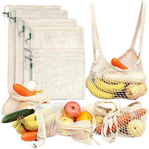 8 Pack Reusable Produce Bags  AivaToba Cotton Mesh Produce Bags Premium Washable Grocery Bags with Tare Weight for Shopping Fruit Vegetable