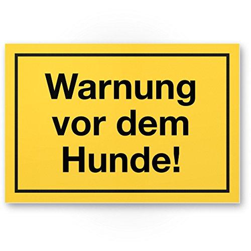 Warnung vor dem Hund Kunststoff Schild (gelb, 30 x 20cm), Hinweisschild wetterfest, Hundeschild das Gartentor, Einfahrtstor/die Haustür, Türschild Abschreckung, Warnschild Einbruchschutz