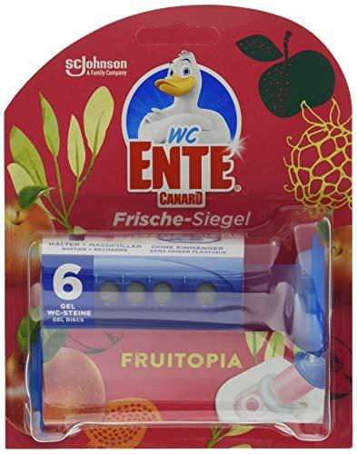 WC-Ente Frische-Siegel Starter-Set (inkl. 1 Nachfüller), körbchenloser WC-Reiniger, Fruitopia Duft, 5er Pack (5 x 36 ml)