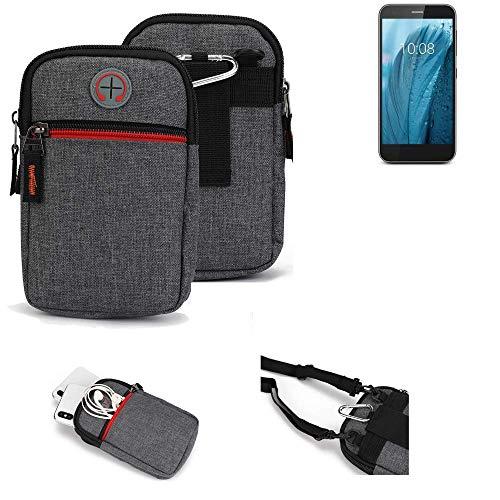 K-S-Trade® Gürtel-Tasche Für ZTE Blade A512 Handy-Tasche Holster Schutz-hülle Grau Zusatzfächer 1x