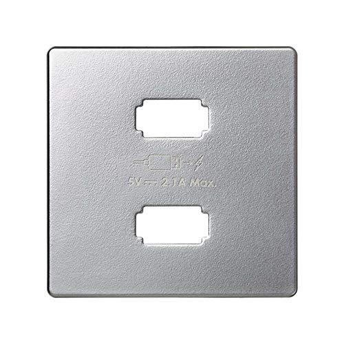 SIMON 82 | Tapa cargador USB 2 conectores aluminio mate 8211096-033