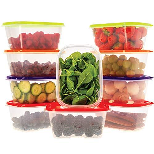 Oursson Recipiente de Almacenaje de Alimentos hermético sin BPA - Recipientes Multiusos - Reutilizables - Recipientes para Snacks Transparentes con Tapas de Color Multicolor, CP11083-1S/MC (10 x 1L)