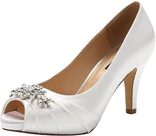 Peep Toe Mid Heels for Woman Rhinestones Satin Evening...