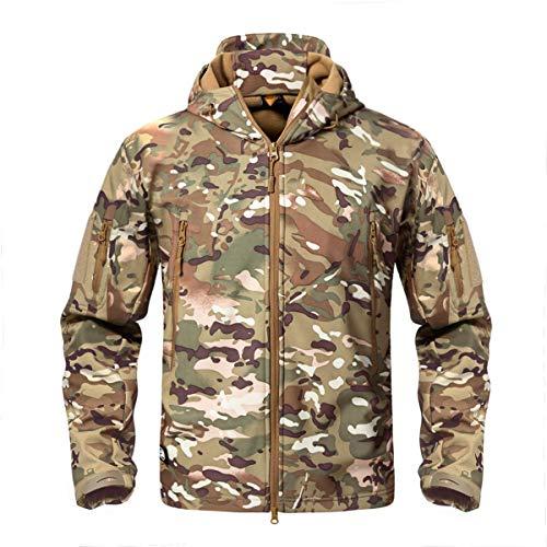 CRYSULLY Herren Reißverschluss Warm Mantel Softshell Jacke Fleece-Futter Wandern Reisen Jacke Regenmantel CP