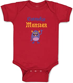 Custom Personalized Boy & Girl Baby Bodysuit Candy Monster Funny Cotton Clothes