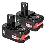 Powermall 2 Pack 6.0Ah Lithium Battery Replacement Compatible with Ryobi 18V One+ System, Compatible with P102 P103 P104 P105 P107 P108