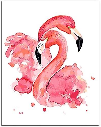 Dabobo Painting by Numbers Peinture à l'huile de Bricolage par numéros de Kits Fleur Acrylique Peinture Murale Peinture Flamingo Image à Couleurier par numéros sur décor de Toile,encadré,60X75cm
