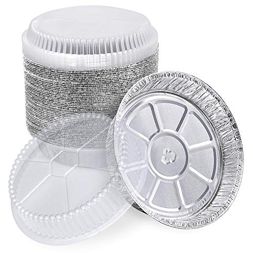 [45 Pack] 9 Inch Round Disposable Aluminum Containers with Lids - 40 oz Foil Containers with Clear Plastic Dome Lids, Ideal for Food Takeaways and as Baking Pans for Pies, Cake, Cookie, and Cheesecake