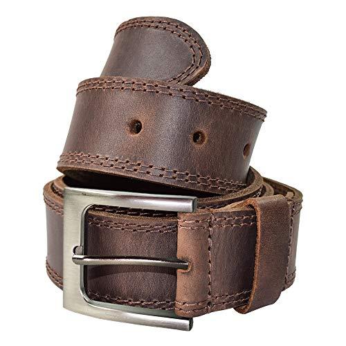 Hide & Drink Men's Two Row Stitch Leather Belt Handmade :: Bourbon Brown