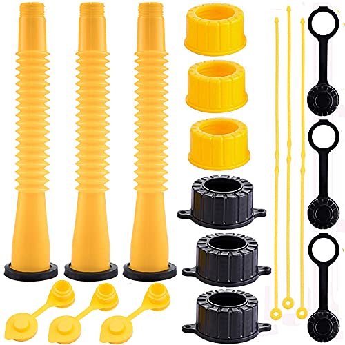 WHSSFINE Gas Can Spout Replacement Kit with Flexible Pour Nozzle Coarse and Fine Thread Screw Collar Caps Fits for Most of The Old Style Cans Midwest Gott Scepter Rubbermai Blitz Kolpin
