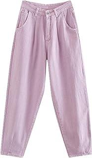 N\P Las mujeres Jeans de cintura alta pantalones vaqueros sueltos bolsillos novio pantalones de mezclilla de las señoras
