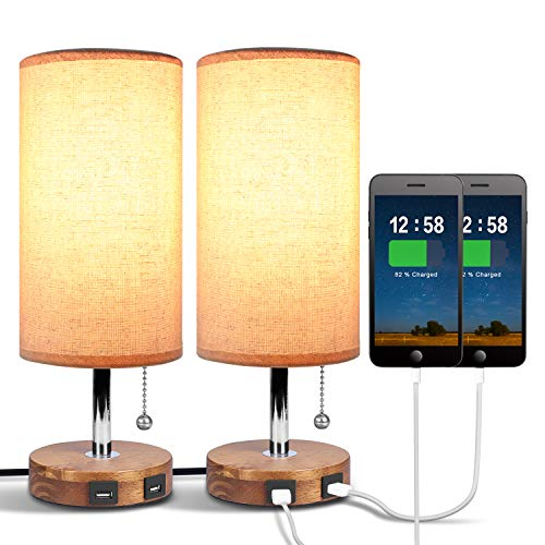Dual USB Bedside Table Lamp, Aooshine Bedside Lamp with USB Charging Port, Stylish Design Table Lamp, Round Nightstand Lamp for Bedroom, Living Room, Dinning Table, Office (Pack of 2)