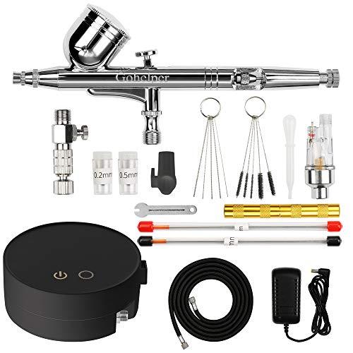 Gohelper Airbrush Set mit Kompressor Doppel-Action Automatische Abschaltung Reinigung Airbrushpistole kit Air Brush für torten, Modellen, Make-up, Schuhen, Nägeln, Kleidung, Backen, Kunsthandwerk