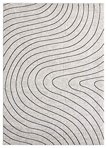 Luxe Weavers Serena Abstract Ivory 5x7 Area Rug