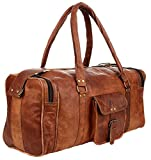 Leather Duffel Travel Gym Overnight Weekend Leather Bag Classic Round Handmade Eco-Friendly Bag (SQUARE DUFFEL)