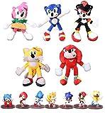 Figura sonica y felpa 12 unids/lote Sonic Plush Dolls Toy Pink Gray Sonicing Felpa suave juguetes de peluche caliente juego muñeca figura de acción niños para regalo de cumpleaños