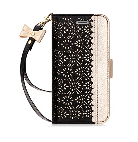 """WWW iPhone XS Case, iPhone X/10 Case, iPhone XS/X Wallet Case, [ Mirror Series] PU Leather Case Kickstand Flip Case with Card Slots and Mirror for iPhone XS 2018 / X/10 2017 5.8"""" Black"""