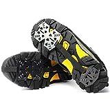 FASFSAF Crampones Tacos para Hielo Empuñaduras de tracción para Nieve 24 Dientes Antideslizantes Picos para Zapatos Nieve y Hielo Crampones Botas,M