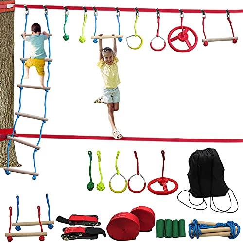 WEUN Hindernisparcours Für Kinder, Hinterhof-Krieger-Trainingsgeräte Für Erwachsene Für Kinder Outdoor-Hinterhof-Kurs-Trainingsset