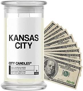 💵 Kansas City City Cash Money Candles | $2-$2500 Inside | Guaranteed Rare $2 Bill | Choose from 30+ Scents | 21oz Jar | Cinnamon Apple | Kansas City