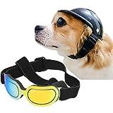 La La Pet Pet Helmet with Dog Goggles Pet Doggie Cap Hat Dog Sunglasses Pet Eye Wear Cat UV Protection Sun Glasses for Puppy Dog Travel Skiing, Helmet S + Colourful Goggles