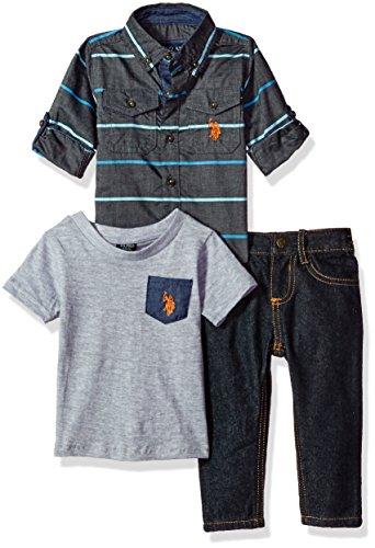 U.S. Polo Assn. Baby Boys' Sport Shirt, Creeper and Pant Set, 0627-Multi Plaid, 12M