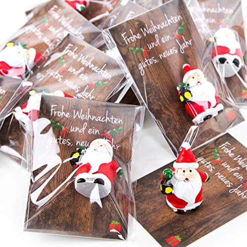 Logbuch-Verlag 20 Mini Geschenke zu Weihnachten - kleine Weihnachtsmann Figur mit Karte - Santa Nikolaus Miniatur als Präsent Kunden Mitarbeiter Freunde