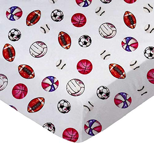 Best Prices! SheetWorld Fitted 100% Cotton Flannel Pack N Play Sheet 29 x 42, Sports, Made in USA