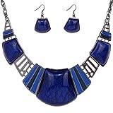 Yazilind Vintage ethnique collier ruban tibetain Sapphire Bib Bleu Turquoise Collier Boucles d'oreilles Ensemble de bijoux