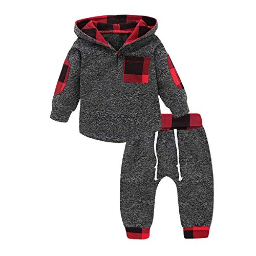 GObabyGO Infant Toddler Boys Girls Sweatshirt Set Winter Fall Clothes Outfit 0-3 Years Old,Baby Plaid Hooded Tops Pants (Gray, 6-12 Months)
