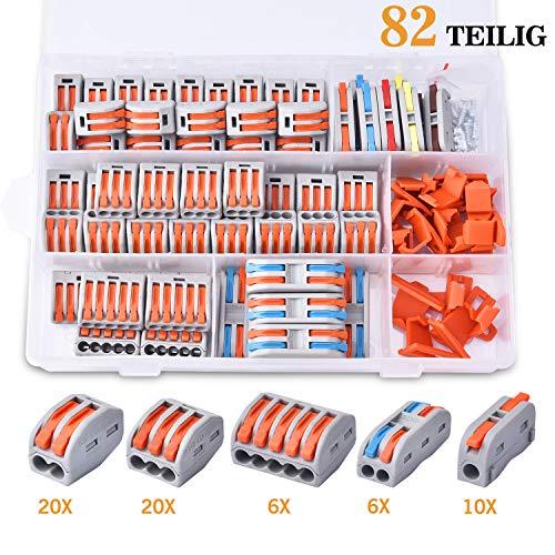 82 teilig Verbindungsklemmen mit Hebel SteckklemmenKabelverbinder Sortiment Bilateral Leiter Klemme1/2/3/5 polig