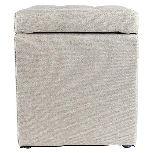 Muebles para el hogar Muebles de Almacenamiento multifuncionales 11.8x11.8x13.6in Caja de Almacenamiento Resistente al Desgaste Reposapiés Taburete Madera + algodón y Lino para decoración