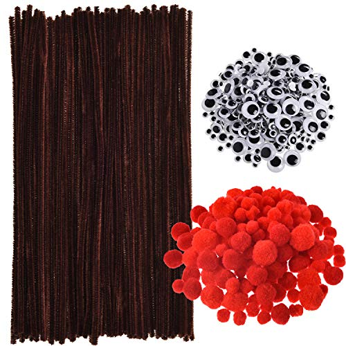 150 Stück Braune Pfeifenreiniger Chenille Stiele, 150 Stück Rote Pom Poms in Verschiedenen Größen und 300 Stück Wackel Augen mit Selbstklebender Rückseite für Weihnachten Rentieren Basteln DIY