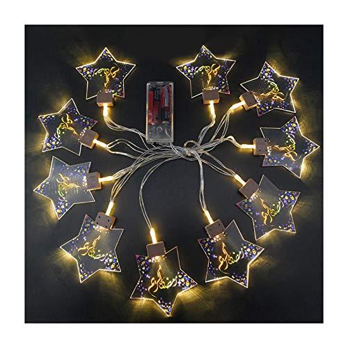 Huaduo Eid Mubarak - Guirnalda de luces led (2 m, 10 luces, funciona con pilas islámicas, para bodas, Halloween, Navidad, interior y exterior)