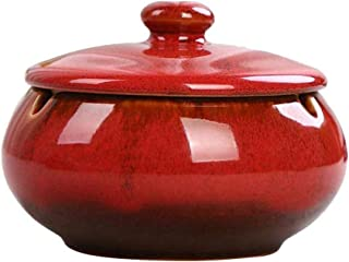 HOOKDOR Ceramic Ashtray with Lids,Windproof,Cigarette Stoner Ashtray for Indoor or Outdoor Use,Ash Holder for Smokers,Desktop Smoking Ash Tray for Home Office Decoration (Red)