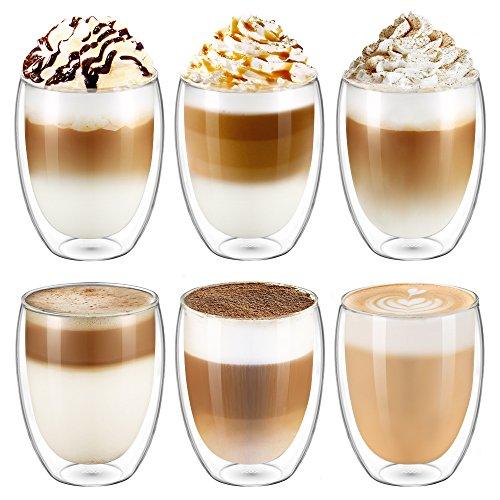Ecooe 6x350ml/11.9oz nsulated Glass Cups Latte Cappuccino Milk Juice Coffee Glasses