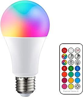 YAYZA! 1-Paquete E27 Edison Tornillo 10W RGB + Blanco Cálido 3000K Color Cambio Control Remoto IR infrarrojos Función Memoria Dual Bombilla luz LED para Decoración Hogar Fiesta Humor Iluminación