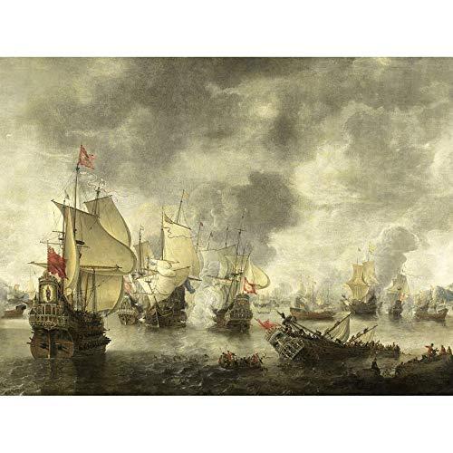 Beerstraten Battle Venice Dutch Ships Bay Foya Art Print Canvas Premium Wall Decor Poster Mural Bier Slag Venetië Nederlands schip muur decoratie