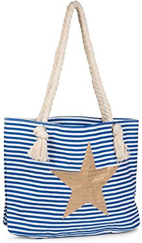 styleBREAKER Bolso de Playa en óptica de Rayas con Estrella, Bolso de Hombro, Bolso de Tipo «Shopper», señora 02012037, Color:Azul-Blanco/Oro