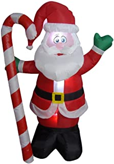 4 Foot Christmas Inflatable Santa Claus with Candy Cane Indoor Outdoor Yard Decoration