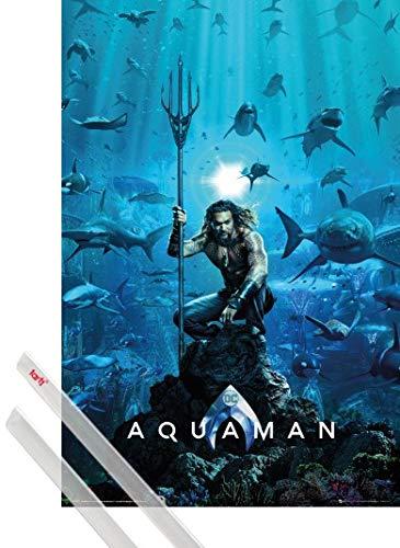 1art1 Aquaman Póster (91x61 cm) Cartel De Cine Y 1 Lote De 2 Varillas Transparentes
