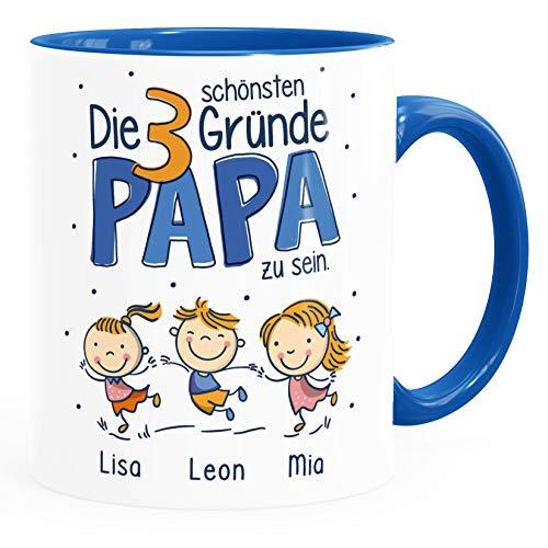 SpecialMe® Kaffee-Tasse'Die schönsten Gründe Papa zu sein' Spruch 1-4 Kinder - personalisiertes Geschenk zum Vatertag Papa inner-royal Keramik-Tasse