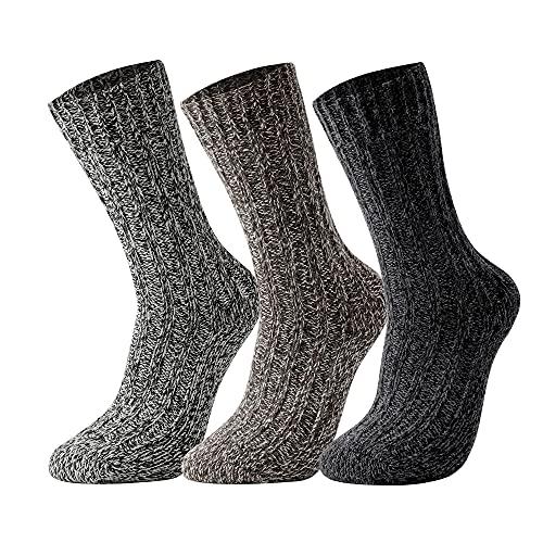 GLEANMEARL 3 Pack Womens and Mens Merino Wool Hiking Socks Winter Warm Soft Snow Boot Crew Socks for Women & Mens (Size 7-10)