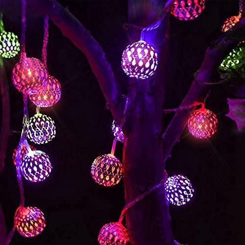 Led Solar Lichterketten Außen, 20 Led Marokkanische Led Lichterkette Außen, 8 modi Kugeln Orientalisch Solar Lichterkette Wasserdicht, LED Globe Lichterkette für Garten, Weihnachten, Party (5M)
