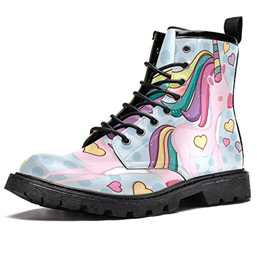LORVIES - Zapatos con cordones de piel para hombre, diseño de unicornio con corazones y peluquería, color negro, (multicolor), 41 EU