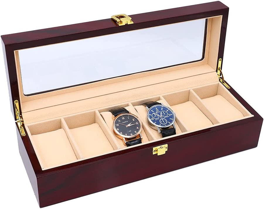 watch Bombing free shipping box case 6 slot Case W Jewelry Wooden 35% OFF Display